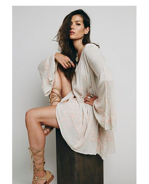 Free People Daylight dreams dress in sand - Shapeless and swingy crepe mini dress with allover...