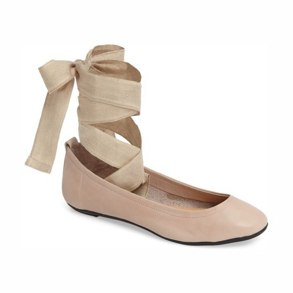 FREE PEOPLE degas ballet flat in pink leather - A woven wraparound strap adds true ballet style to a...