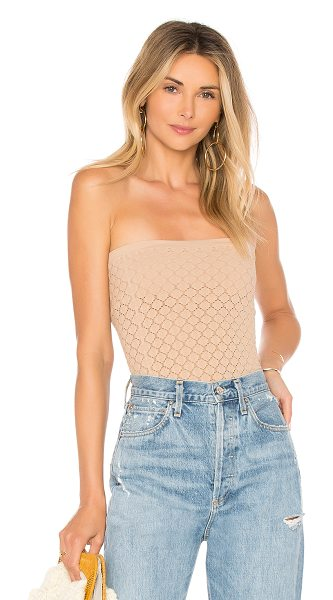 Free People Diamond Textured Seamless Tube Top in tan - Nylon/spandex blend. Hand wash cold. Pointelle knit...