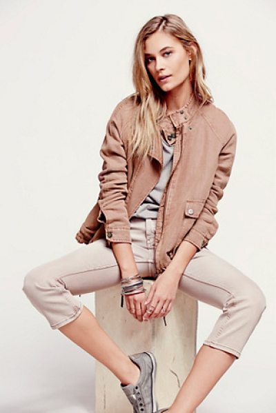 FREE PEOPLE Double cloth zip up jacket - Double cloth super soft zip jacket with utility pockets...