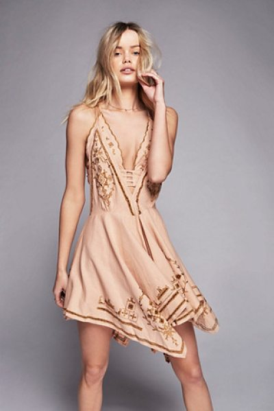 Free People Dreamers cove set in retro gold - In a linen fabric this mini dress features beautiful...