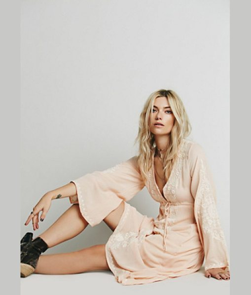 Free People Dreamweaver dress in peach combo - Beautifully embroidered high low dress with hook and eye...