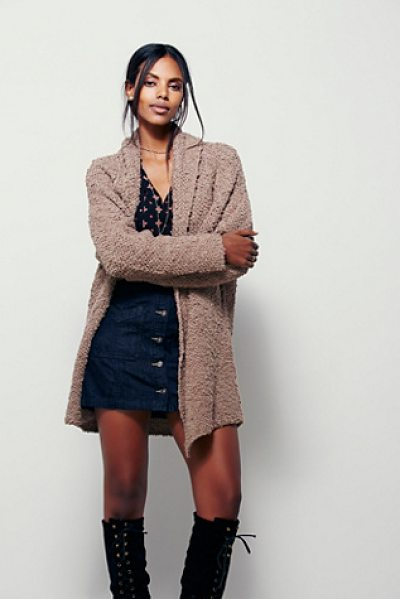 Free People Dreamy day cardi in taupe combo - So soft cardigan with an oversized slouchy silhouette....