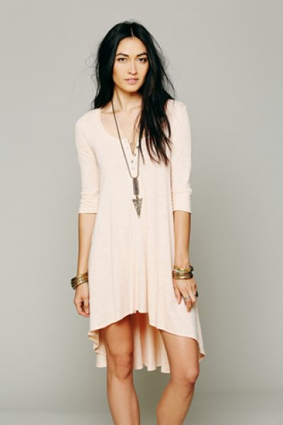 FREE PEOPLE Drippy jersey dress - Marled jersey knit oversized high-low tee. Button...