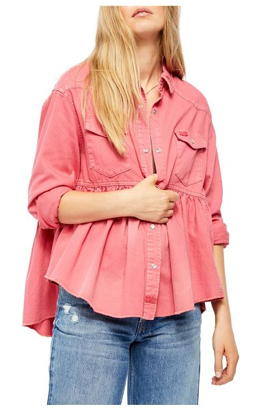 Free People dylan button-up babydoll shirt in pink