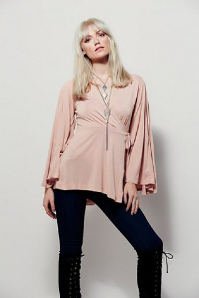 FREE PEOPLE Dynasty top in peach - Semi sheer wrap top featuring a surplice style...