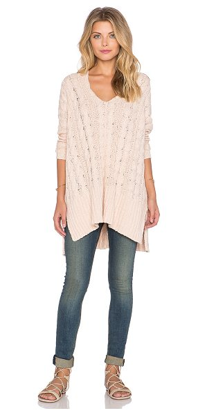 Free People Easy cable v neck sweater in blush - 100% cotton. Hand wash cold. Cable knit with ribbed...