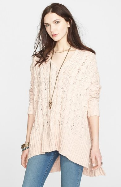 Free People easy cable v-neck sweater in champagne - Free People's grungy spin on the classic cable-knit...