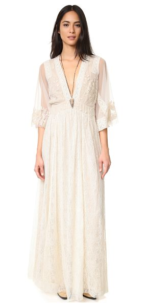 Free People eclair embroidered maxi dress in oatmeal - An ethereal Free People maxi dress composed of slinky...