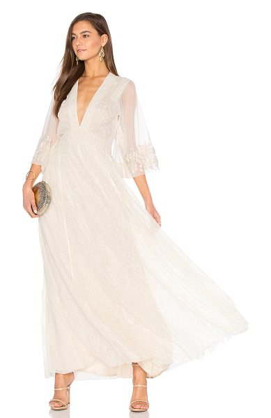 Free People Eclair Embroidered Maxi Dress in cream - Self: 100% nylonContrast: 100% cottonContrast 2: 100%...