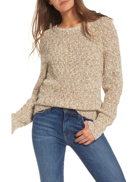 Free People electric city pullover sweater in gold - Loosely knit and richly textured, this weekend-ready...