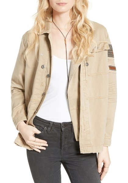 Free People embellished military shirt jacket in sand - Chevron patches at the shoulder signify your status...
