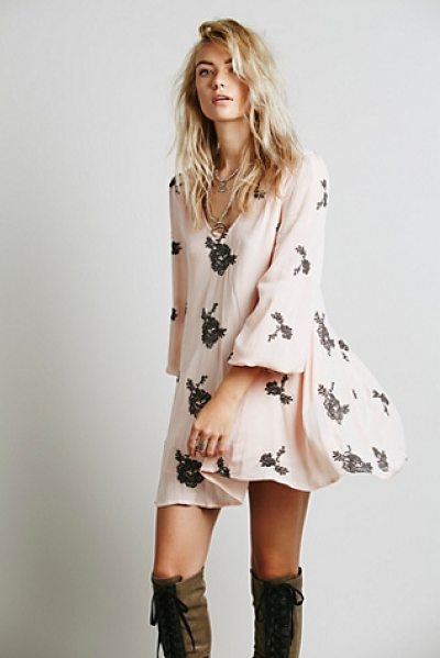 "Free People Embroidered austin dress in soft pink combo - ""Flowy swing dress with beautiful floral embroidered..."