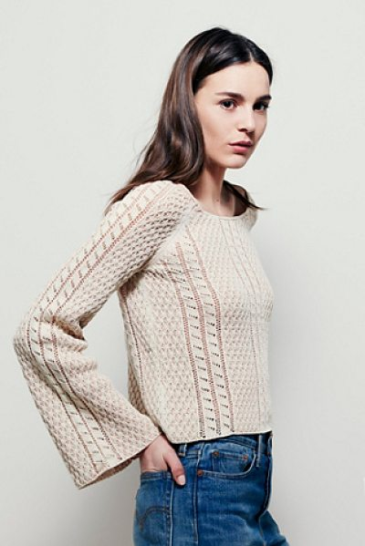 FREE PEOPLE Emma bell sweater - Effortless cotton-blend knit pullover featuring mixed...