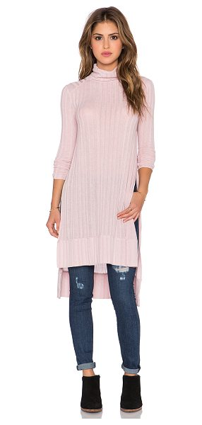 Free People Espresso rib top in pink - 63% poly 33% rayon 4% spandex. Hand wash cold. Side seam...
