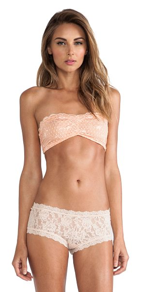 Free People Essential lace bandeau in peach - 88% nylon 12% spandex. Hand wash cold. Elastic stretch...