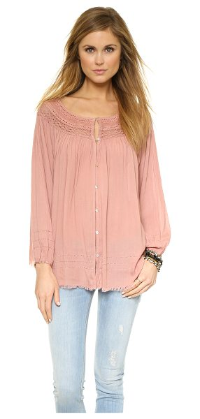 Free People Eyes open top in rose - Ruching accentuates the fluid swing of this airy Free...