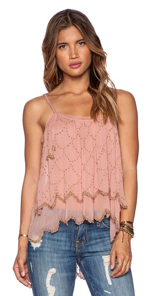 FREE PEOPLE Fairy dust tank - 100% rayon. Hand wash cold. Asymmetrical multi-strap...