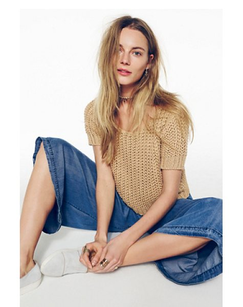 Free People Fisherman sweater tee in cream - Super soft and chunky loose knit short sleeve sweater. ...
