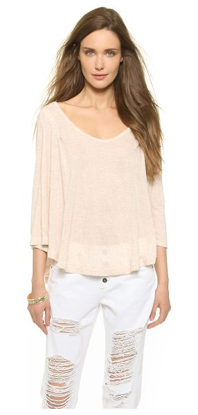 Free People Flax jersey tambourine tee in dark oatmeal - A draped Free People tee with a plunging scoop neckline....