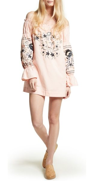 Free People fleur du jour shift dress in pink - Cut with an of-the-moment off-the-shoulder neckline,...