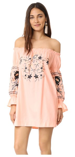 Free People fleur du jour mini dress in pink - Folk-inspired floral embroidery details the yoke and...
