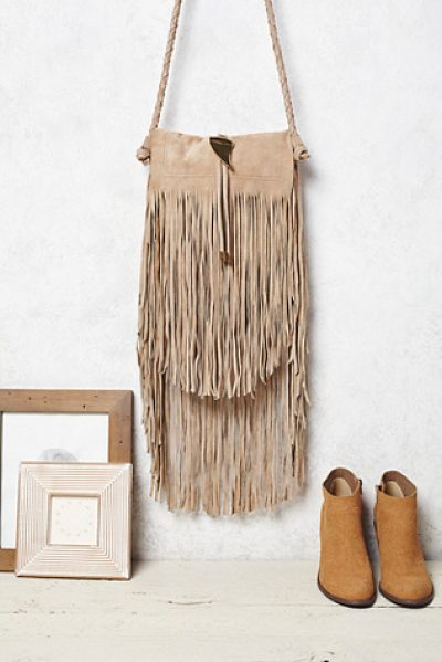 Free People Fountain hill crossbody in natural - Suede crossbody featuring dramatic fringe detailing. ...