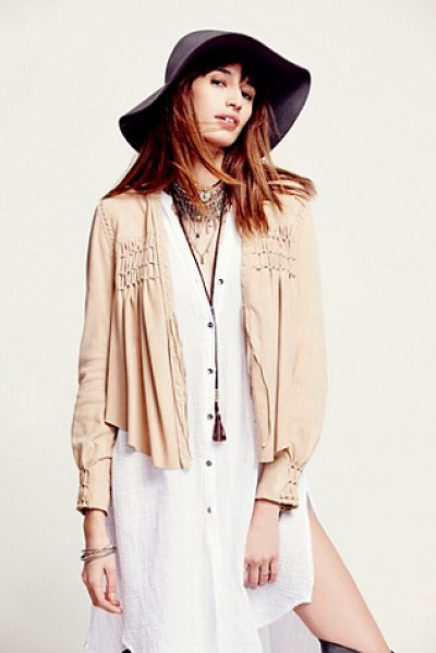 FREE PEOPLE Fp new romantics smocked suede jacket - Soft suede jacket with braided trims and smocked yoke....