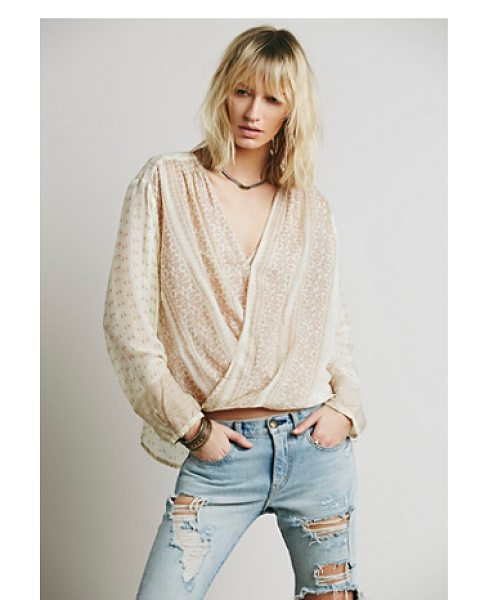 Free People Fp one before dawn top in taupe - Lightweight semi-sheer printed wrap top featuring a high...