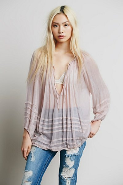 Free People Fp one tie that binds blouse in rose - Sheer blouse in a delicate weave featuring a deep...