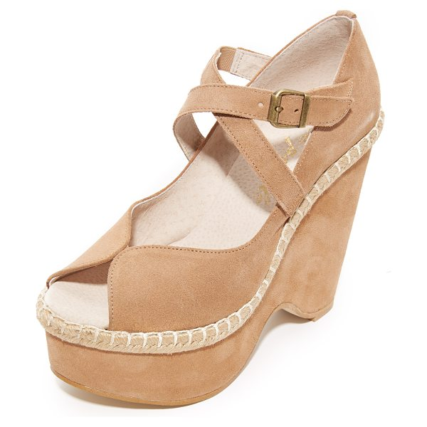 FREE PEOPLE terrace platform wedges - A sculpted platform adds dramatic lift to these suede...