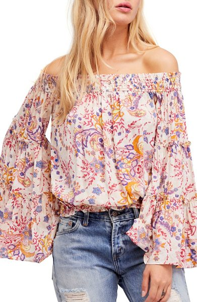 Free People free spirit off the shoulder top in neutral - Your own free spirit meets its match in this sweetly...