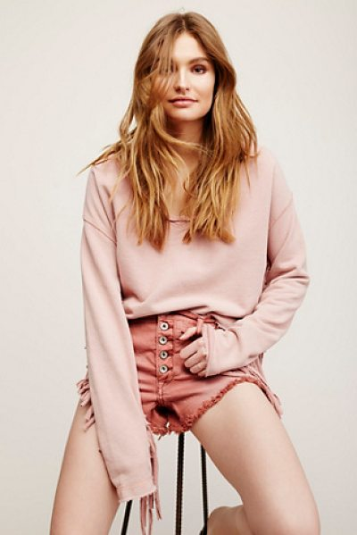 Free People Fringe pullover in almond - In a heavyweight cotton fabrication this pullover...