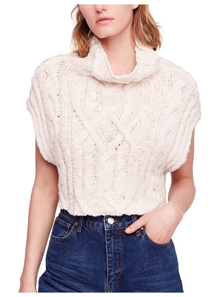 Free People frosted cable sweater vest in cream - The bold, textured cables of this boxy, cropped pullover...