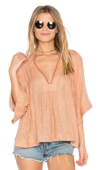Free People Get Over It Striped Pullover in peach - Take a deep breath and savor the irresistably bohemian...