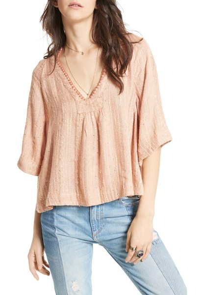 Free People get over it top in peach - Embellished with sparkling sequins and intricate...