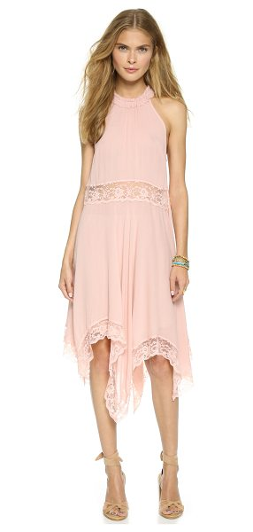 Free People Go lightly gauze & lace dress in ballet - A flowy Free People dress with sheer lace at the waist...