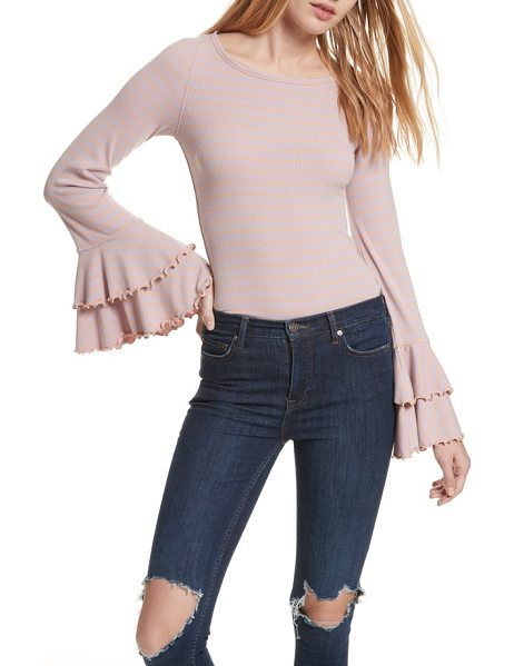 Free People good find ruffle cuff tee in pink combo - Tiered, ruffled cuffs flutter beguilingly from the...