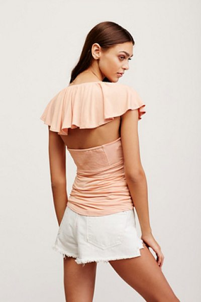 Free People Hailey tee in peach - In a soft and stretchy fabrication this tee features...