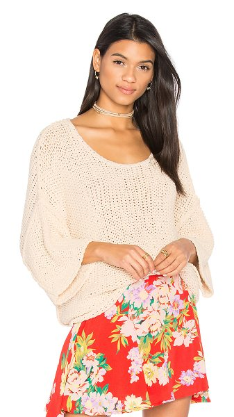 Free People Halo Pullover in beige - 80% cotton 20% nylon. Hand wash cold. Open knit fabric....