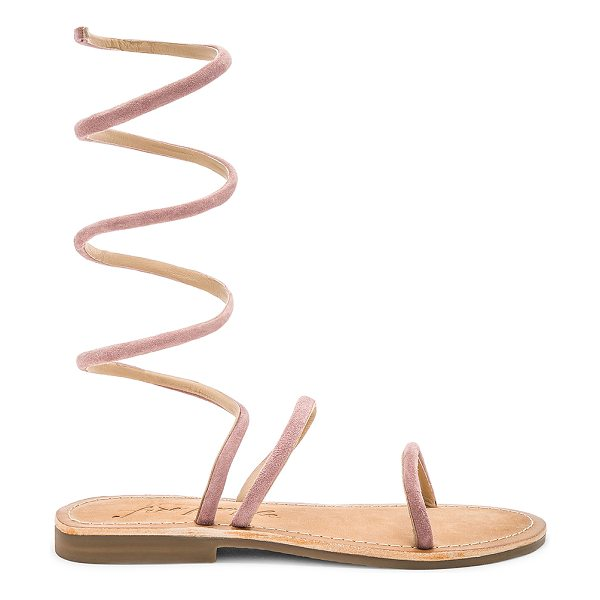 Free People Havana Gladiator Sandal in pink - Suede upper with rubber sole. Adjustable wired wrap...