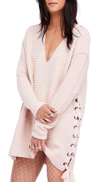 Free People heart it laces sweater in rose - Lustrous chenille yarns bring an extra measure of...