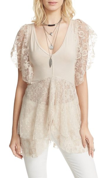 Free People heatherton top in cream - Set hearts a-flutter in this ethereal, partially sheer...