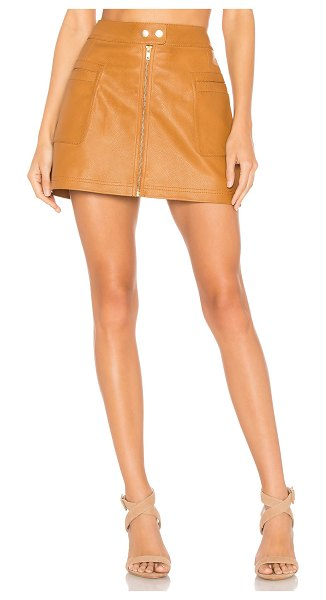 """Free People High A Line Vegan Leather Skirt in brown - """"Self: 100% polyurethaneLining: 100% poly. Hand wash..."""