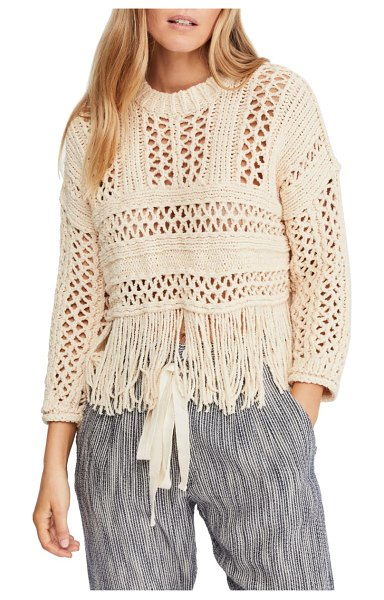 Free People higher love crochet sweater in beige - Channel your inner flower child in this fringed...