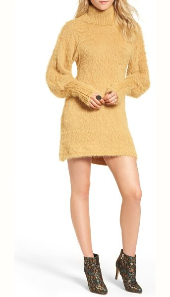 Free People honey turtleneck minidress in beige - When the temps drop, cozy up in this turtleneck mini...