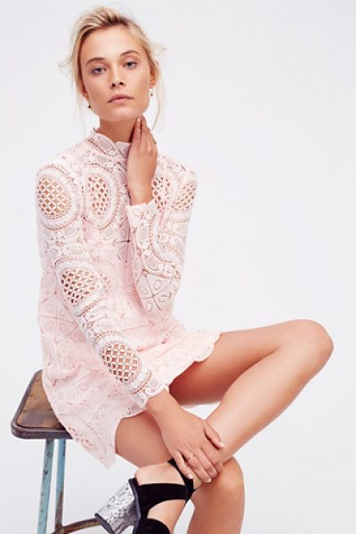 Free People Ibiza lace dress in pink - Crochet lace mini dress featuring a mock neck long...