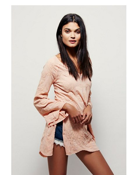 Free People Jaipur tunic in peach - Vintage-inspired tunic featuring stitched tonal paisley...