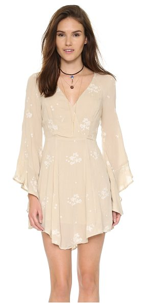 Free People Jasmine embroidered mini dress in almond combo - An airy Free People mini dress with a flared skirt....