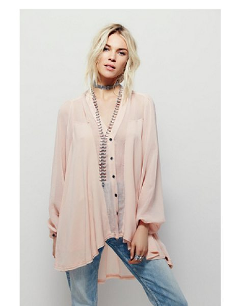 Free People Julia blouse in blush - Oversized billowy blouse with a high low hem and...